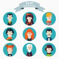 Set of flat people icons Male and female faces avatars N5