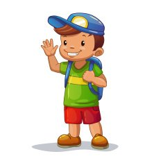 Funny cartoon little boy with school bag N2