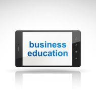 business education words on mobile phone