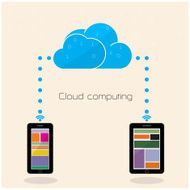 Flat cloud technology computing background concept