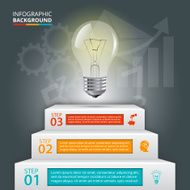 Business staircase conceptual infographic with lightbulb