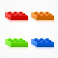 Isometric Colorful Plastic Building Blocks N2