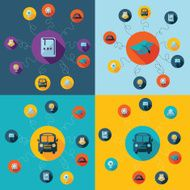 Flat concept set modern design with shadow education icons N49
