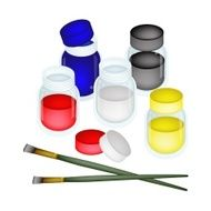 Colorful Color Paint Jars with Artist Brushes
