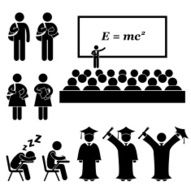 Student School College University Stick Figure Pictogram