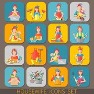 Housewife Icons Set