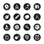 School Icons - Black Circle Series