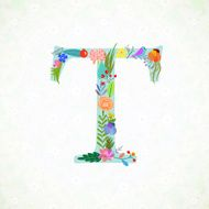 The letter T Bright floral element of colorful alphabet