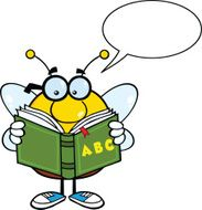 Pudgy Bee Cartoon Mascot Character Reading A ABC Book