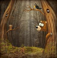 Forest landscape with animals N2