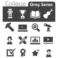 College Icons Gray Series