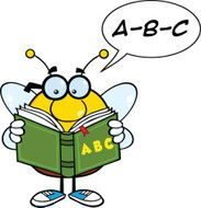 Bee Cartoon Mascot Character With Glasses Reading A ABC Book N2