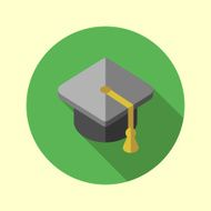 Square academic cap icon Flat long shadow design