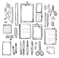 set of stationery drawings Vector illustration N2