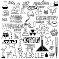 Chemistry Hand drawn Vector illustration Black and White N2