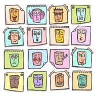 Sketch emoticons stickers set N2