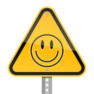 Smiley face pictogram warning triangle yellow road sign white background