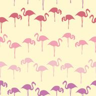 hand drawn flamingo grade colored silhouette seamless pattern summer background