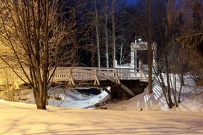 bridge in a beautiful park in Oulu in winter