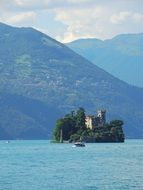 picturesque island with tower on mountain lake, italy, Lake Iseo, Lago d'Iseo