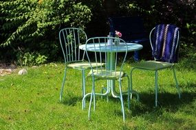 cute garden furniture sunny scene