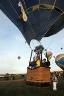 people in a hot air balloon