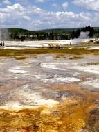unusual colorful landscape in Yellowstone National Park, Wyoming
