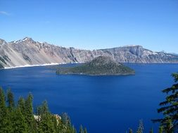 crater lake in the mountains