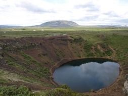 panoramic view of the crater lake in iceland