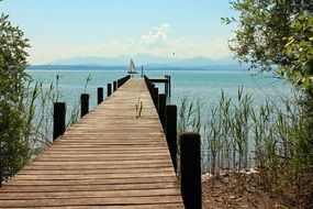wooden pier on the lake Chiemsee