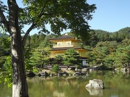 Buddhist zen shrine in beautiful landscape, japan, kyoto