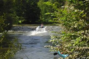 kayak on a creek in Altmühl Valley
