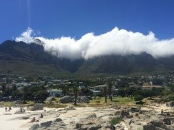 distant view of cape town and table mountain in clouds, South Africa