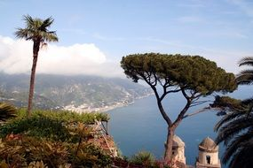 amalfi coast landscape view from cliff