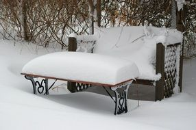 Snow on the bench