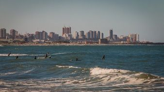 people resting in sea surf at scenic modern city, argentina, mar del plata