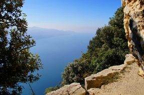 view from the mountain to the lake Garda, Italy