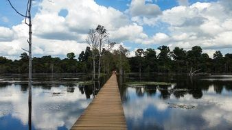 wooden bridge over a lake in Cambodia