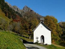 Chapel on the background of the beautiful Bavarian Alps