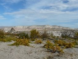 Remote view of the Taurus Mountains in Cappadocia