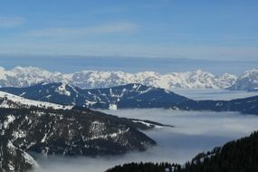 panoramic views in the alpine mountains