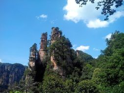 scenic sandstone columns and mountains at sky, china, Zhangjiajie National Forest Park