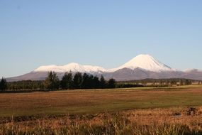 distant view of snow mountain in new zealand