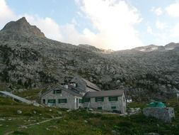 mountain huts at the foot of the peak Aneto