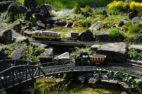 Beautiful miniature railway with colorful hills and trees on Mainau