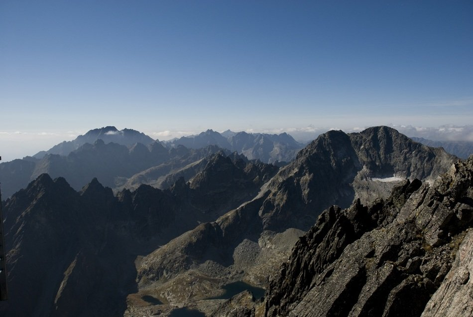 panoramic view of mountain peaks in the Tatra mountains on a sunny day
