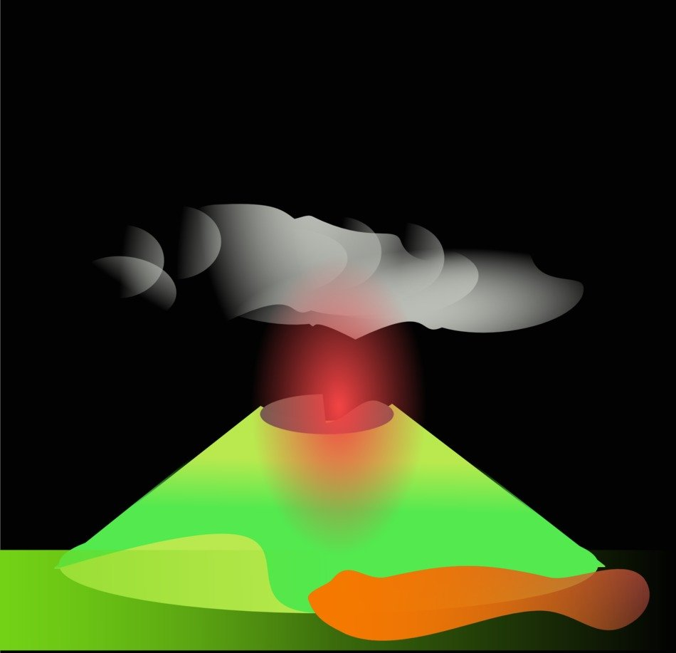 volcano eruption, illustration