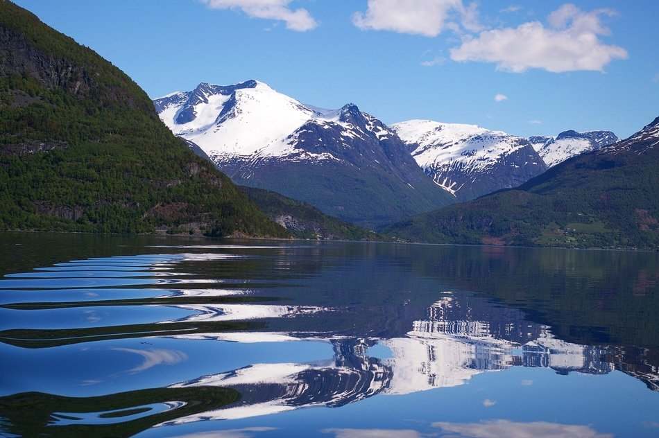 mirror reflection in the water of the northern Norwegian landscape