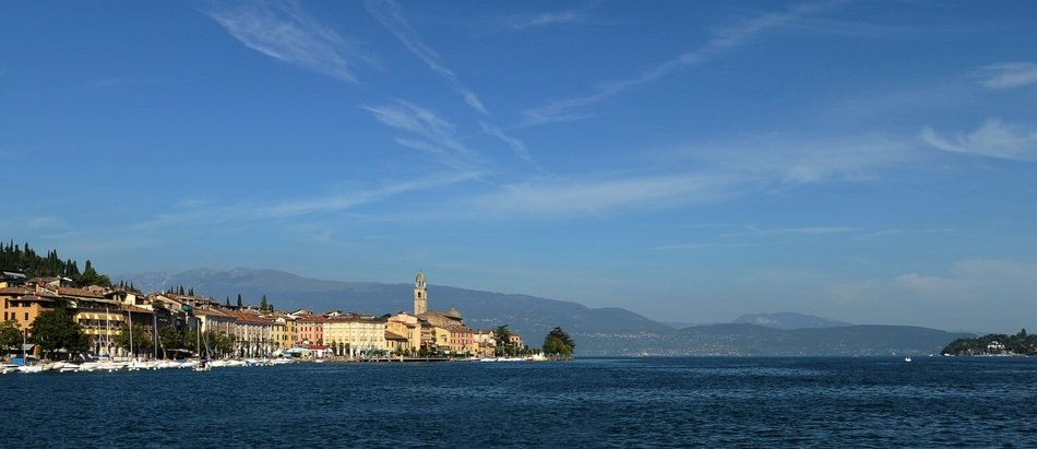 panoramic view of lake garda in italy on a sunny day