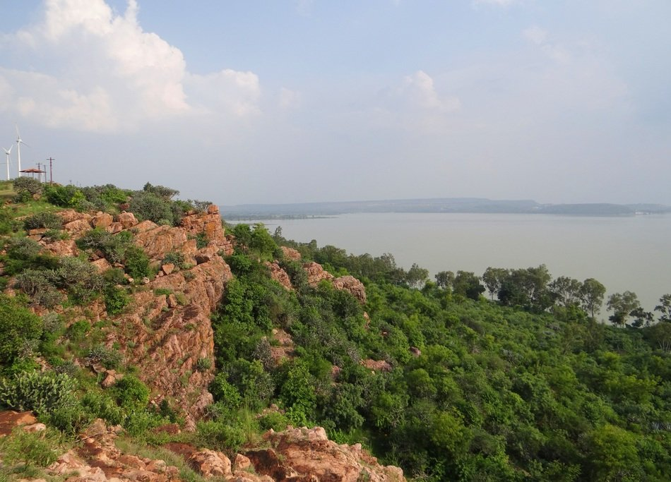 view from the mountain on a lake in Karnataka, India